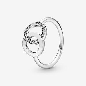 جديد تماما 925 فضة حلقة تألق مع الدوائر المتشابكة للنساء خواتم الزفاف الأزياء والمجوهرات شحن مجاني