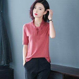 SL4uZ ropa simple diseño del cuello de lana de manga corta de los nuevos productos de verano viven los géneros de punto de la bufanda bufanda de géneros de punto de celebridades en línea