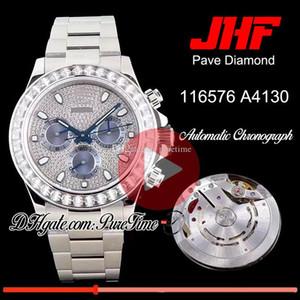 JHF 다이아몬드 베젤 Pave 다이아몬드 블루 다이얼 A4130 자동 크로노 그래프 망 Wach 스테인레스 스틸 팔찌 Ptrx Best Edition New Puretime