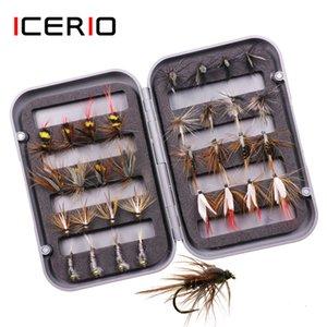 Приманки ICERIO 32pcs / Box Форель Fly Fishing ассорти Мухи Kit Нимфа Сухой Влажный Мухи Рыбалка Fly Lure Bait