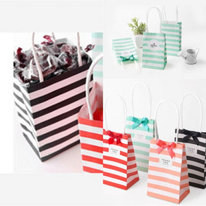 White Kraft Card Packaging Bag Bow Mini Paper Bags With Handles Fashion Stripe Storage Candy Colorful Present Custom 0 74hb c2