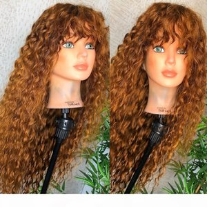 Blonde Curly 13x6 Lace Front Human Hair Wigs with Baby Hair Brazilian Full Lace Wigs with Bang for Black Women Natural Hairline