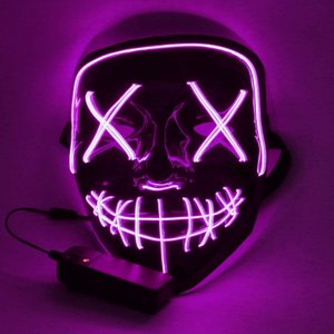 wholesale LED Halloween Mask Halloween Scary Cosplay Light up Mask for Festival Cosplay Halloween Costume Sky Blue