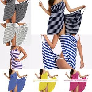 MT49p 61G45 2019 Sommer neue sexy Rock Holiday Beach Straps Ferienstrandkleid Kleid gestreifte Hosenträger-Rock
