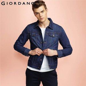 Giordano Uomini Giacca di jeans vintage tasche Outerwears Jeans Giacche Indigo Vetement qualità Top Mans Abbigliamento casual Homme