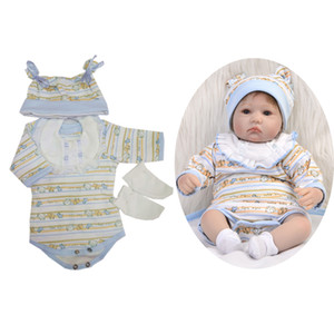 Lovely 5 Pieces Baby Dolls Clothes Rompers Bib Hat Socks for 17-18inch Reborn Girl   Boy Doll Party Outfit