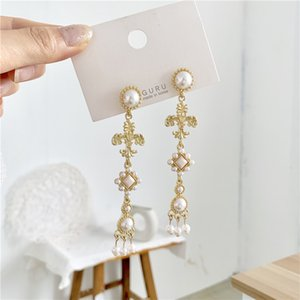 2020 Summer Designer New S925 Silver Needle Baroque Retro Earrings Cross Sen Feminine Pearl Earrings Ear Clip