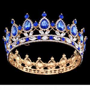 Pageant Full Circle Tiara Clear Austrian Rhinestones King Queen Crown Wedding Bridal Crown Costume Party Art Deco J 190430
