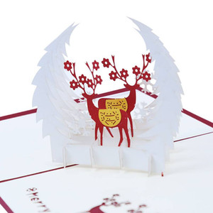 Merry Christmas 3D Up Reindeer Greeting Cards for Holiday, Anniversary, Valentine, Wedding, Thanksgiving Day
