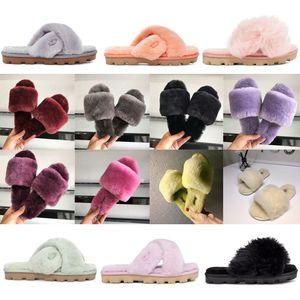 Nueva Australia pelusa sí diseñador para mujer del deslizador ocasional pelusaugg women men kids uggs slippers furry boots slides esponjoso Cozette fuzzette fuzzalicious