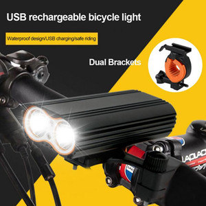 Rainproof Bicycle Lights 2 XM-L T6 LED Lumiere velo USB Rechargeable Led Lamp Torch Flashlight Cycling Sports Safety Cycling Tail light XW3