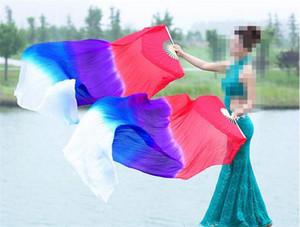 Belly Light Professional 1pair Danse soie Fan Veil Turquoise Taille de début couleurs assorties Livraison gratuite