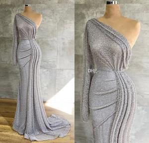 Gümüş Tek Omuz 2021 Abiye Uzun Kollu Denizkızı Balo Abiye Glitter payetli Arapça Örgün Parti Elbise