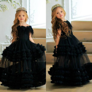 Black Flowers Girls Dresses Tiered Ruffles Feather Off Shoulder Floor Length Kids Teens Pageant Gowns Birthday Party Dress For Wedding