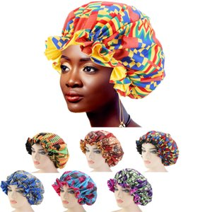 Fashion Ladies Accessories Headwear Multicolor Nightcaps African Ladies Printed Sleep Caps double-layer Large Lace Dome Hat