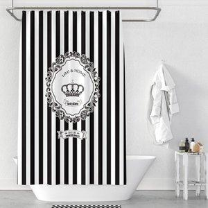 White Stripes européenne Noir américain Couronne Poliban Mode Hanging rideau imperméable salle de bains baignoire rideau de douche en polyester