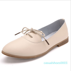 Leather shoes fashion simple zapatos mujer shoes woman casual flat women Low price high quality C03