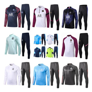20 21 Marsella Men Football Training Tacksuit Real Madrid Fútbol Traje de entrenamiento 2020 2021 Paris Mbappe Survetement De Foot Chandal Jogging