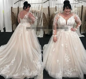 2021 Plus Size Wedding Dresses Long Sleeves Illusion Tulle Embroidery Lace Applique Sweep Train Wedding Bridal Gown robe de mariee