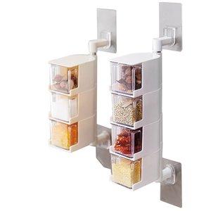 1Pcs a parete girevole condimento bagagli Scatole Spice Jar cucina condimento Box Spezie Storager Cucina Organizzazione gadget