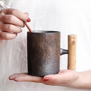 Vintage Ceramic Coarse Pottery Mug Rust Glaze with Wooden Handgrip Tea Milk Coffee Cup Wooden Spoon Water Office