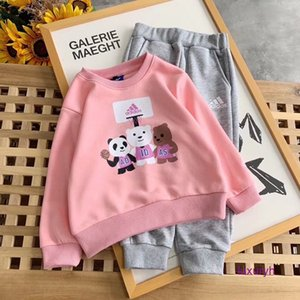 paster Top Two Piece Suit Korean Children Girl boys Athletic long Sleeve high quality Suit