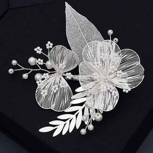 Luxury Silver Color Alloy Hair Grip Handmade Hollow Up Petals Shaped Hair Clip Bride Hairpin Women Wedding Headpeice XH