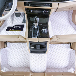 Custom Fit Car Floor Mats Specific Waterproof PU Leather ECO friendly Material For Vast of Car Model and Make 3 Pieces Full set Mats White