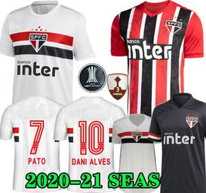 Dani Alves PATO 20 21 Сан-Паулу Джерси третий прочь черный красный футбол 2020 2021 Эрнанес Club Главная белый футбол рубашка