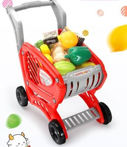 Kitchen Toy Shopping Cart Set Pretend Play House Plastic Cutting Simulation Fruit Vegetables Mini Food Girls Friend Educational Toys