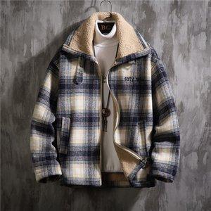 2020 UYUK New England Winter-Freizeit Joker Eindickung Lämmer Wollmantel lose große Yards Baumwolle-gepolsterte Kleidung für Männer Homme