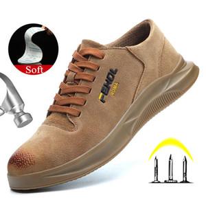 Yadibeiba дышащий безопасности Рабочая обувь для мужчин Anti-трелевочные кожа Обувь защитная рабочая обувь промышленной безопасности Boots 200916