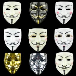 Beyaz V Parti Dikmeler Vendetta Anonim Film Guy Toptan ücretsiz gönderim WY813Q Masquerade Eyeliner Cadılar Bayramı Tam Yüz Maskeleri Maske