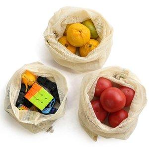 Vegetable Dozzesy reutilizável malha produzir sacos Organic mercado de algodão Fruit Shopping Bag Home Kitchen Grocery armazenamento saco com cordão Bolsa HWA910