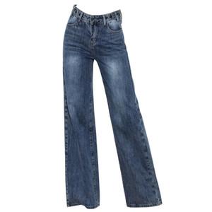 Kostenloser Versand New 2020 Frauen Frühling und Herbst Wide Leg Jeans Damen High Waist lose hängende gerade Hosen