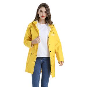 Sarı Uzun Yağmurluk Yetişkin Açık Coat Seyahat Yürüyüş Yağmur Coat WINDBREAKER Su geçirmez Yağmur Panço Kalınlaşmak Capa De Chuva Hediye
