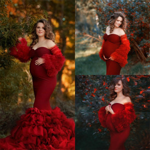 Red Mermaid Maternity Dresses Custom Made Tiered Skirts Tulle Boudoir Dress Wedding Sleepwear Bathrobes Nightgowns Gown Photo Shoot Props