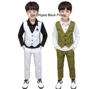 Brand Flower Boys Formal Suit School Children Fake Vest Shirt Pants 2pcs Clothing Set Gentleman Kids Birthday Party Wedding Suit