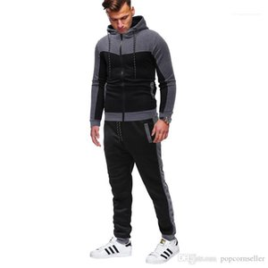 Mens Casual Hooded Sportswear Mens Leisure Clothing Men Fashion Crew Neck 2pcs Hoodie Suits Classic Monochrome