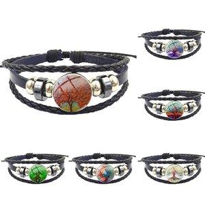 For Women Gift Fashion Glass Stone Surface Black Leather Bracelet Bangle Women Statement Jewelry Tree of Life