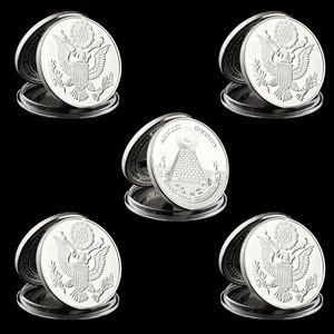 5pcs Freemason Souvenir Coins Collectibles Replica Metal US Masonic Silver PLated Coin Collectible Lot
