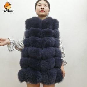 2019 Новая мода Natural Real Fox Fur Vest Куртка Жилет Gilet Женщины Короткие рукавов зимы Толстые Теплое пальто Роскошные Подлинная T200905