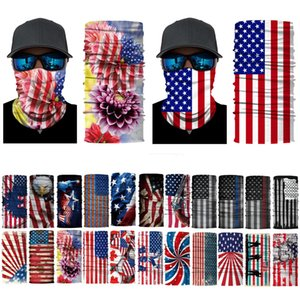 USA Flag Scarf Bandanas Fashion Print Novelty Cycling Masks Headgear Magic Scarves Outdoor Party Wraps Sunshade Neck Gaiter