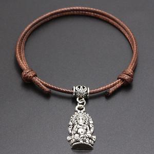 20pcs lot Lucky Ganesha Buddha Elephant Charms Bracelet For Women Children Red Leather String Adjustable Bracelet DIY