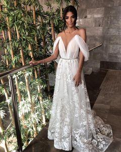 Lace Backless 2021 Wedding Dresses Full Lace Floral Off Shoulder Sheer Neck Bohemian Beach Garden Bride Gowns vestido de noiva