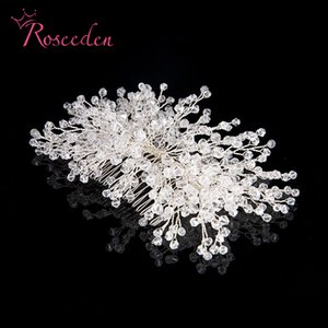Roseeden handgemachte Silber Farbe Strass Braut Stirnband Hairpin-Hochzeit Haarschmuck Zubehör Kristallhaarkamm RE710