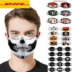 2020 designer de Noël Halloween tissu de soirée masque de visage PM2.5 Filtre Coton USA Femme Men Hommes Enfants Fashion Hiver Lavable Parton Lavable Masque lumineux