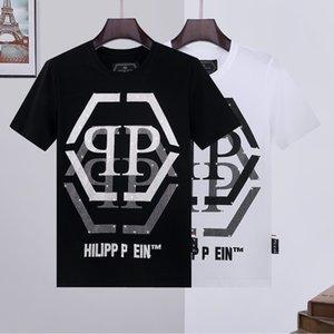 2020 nova T-shirt carta de diamantes marca de moda masculina PP de manga curta quente dos homens Philip além de metade do tamanho magro dos homens da luva T
