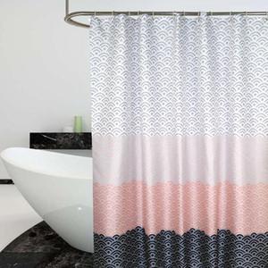 욕조 목욕 커버 초대형 와이드 12PCS 후크에 대한 북유럽 샤워 커튼 기하학적 컬러 블록 목욕 커튼 욕실