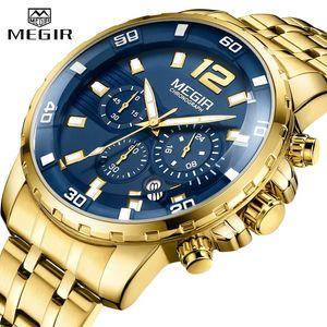 2020 Новые мужские часы MEGIR Бизнес Спорт Хронограф Мужские часы из нержавеющей стали ремешок Водонепроницаемый календарь кварцевые часы